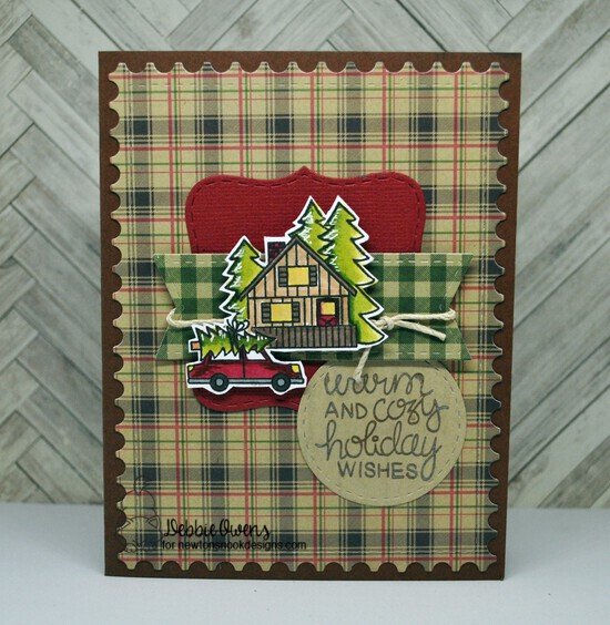 Warm and cozy holiday wishes by Debbie features Snow Globe Scenes, Holiday Stockings, Winston's Lake House, Framework, Frames Squared, and Frames & Flags by Newton's Nook Designs; #newtonsnook