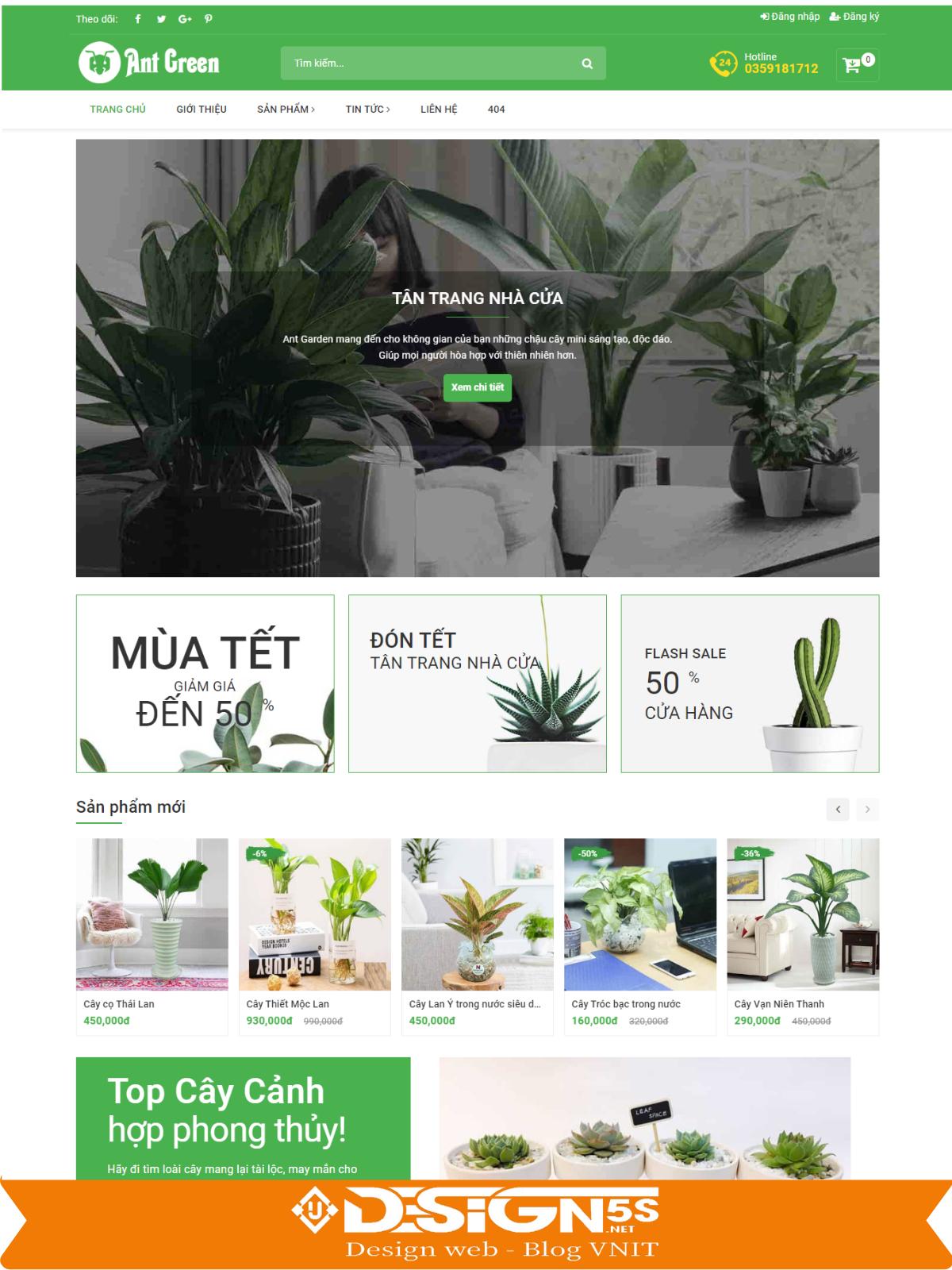 Mẫu Website Bán Cây Cảnh Chuyên Nghiệp Chuẩn Seo - Ảnh 1