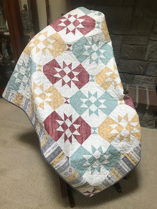 Disappearing Hourglass Quilt made by Mary of Needled Mom, The Tutorial designed by Jenny of Missouri Quilt Co
