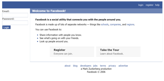 Facebook home page 2006
