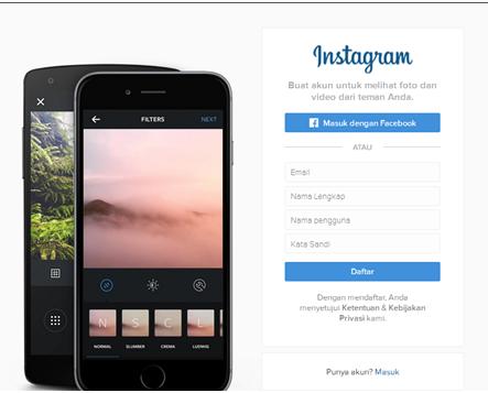 Cara daftar ke instagram