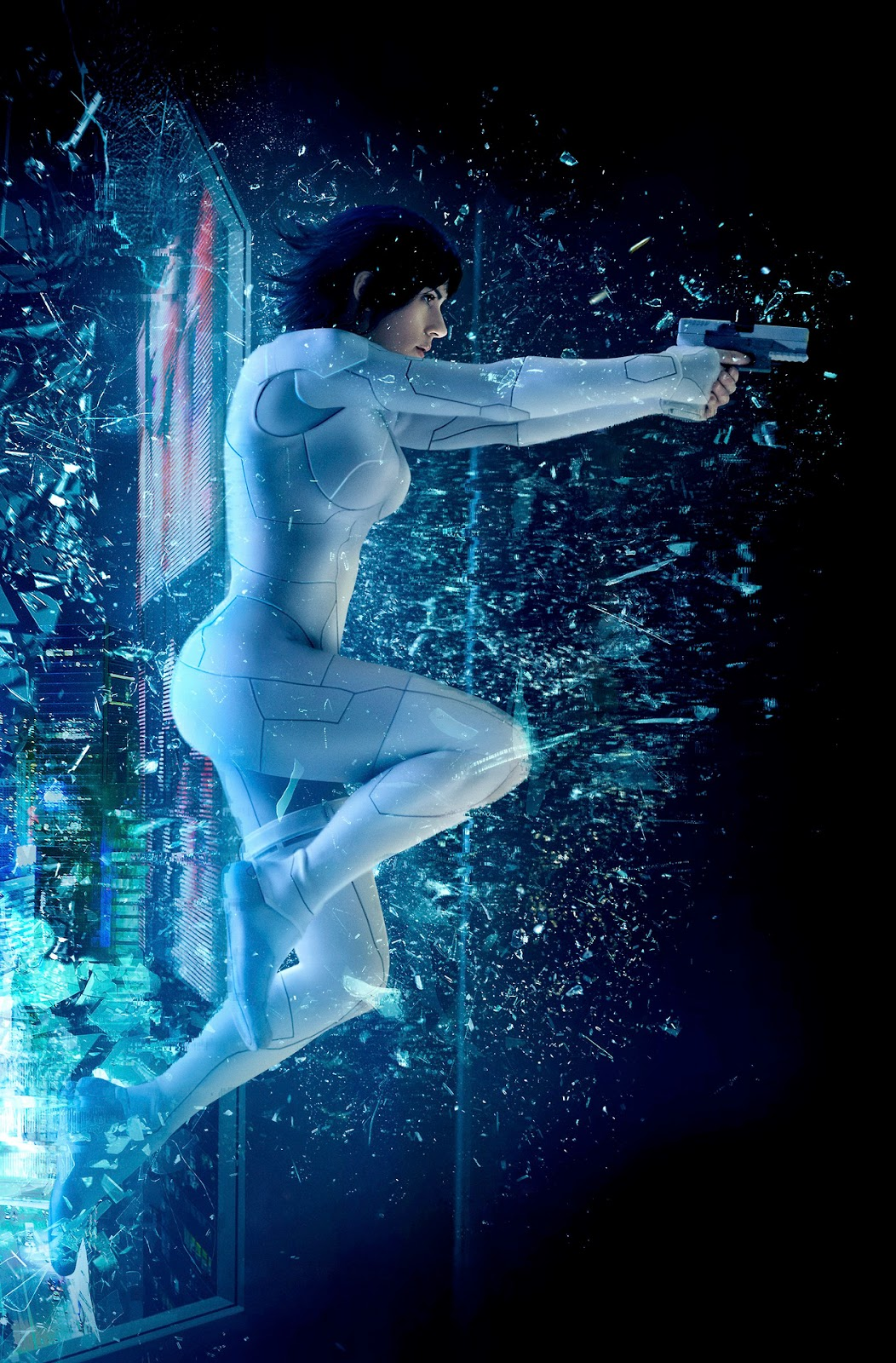 Scarlett Johansson's The Major, smashing through the glass wall to fight the enemies, a scene showing her performing superhuman feats, with superhuman strength, leaping between skyscrapers, advanced acrobatics and shooting down a bullet after it was fired at mid-range.