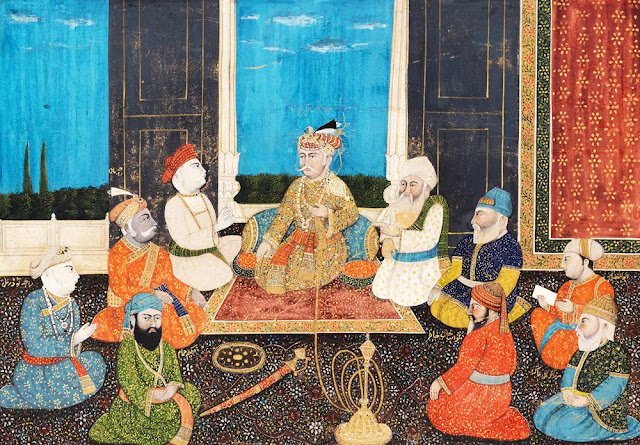 emperor-akbar-in-durbar-surrounded-by- princes-and-officials-of-the-court
