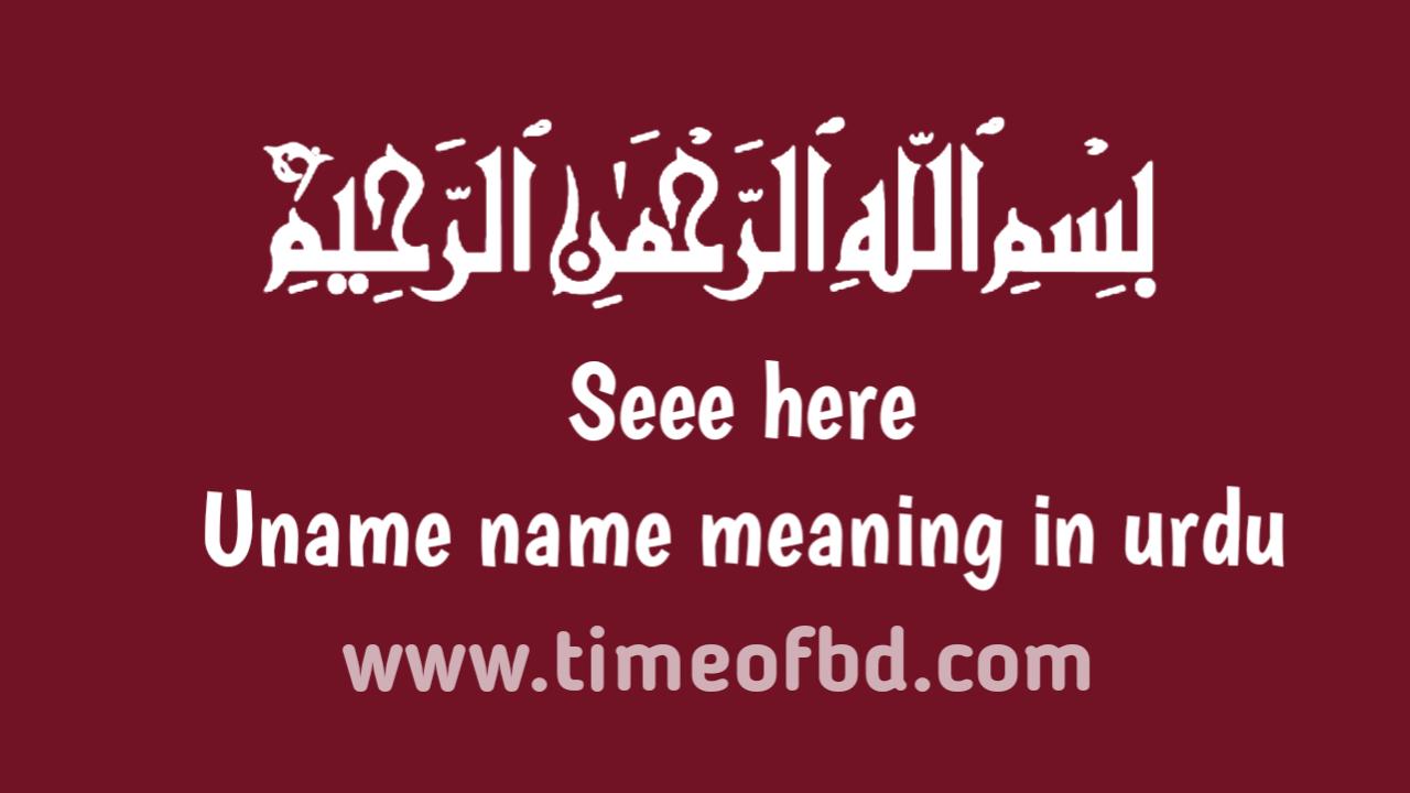 Uname name meaning in urdu, انیم نام کا مطلب اردو میں ہے