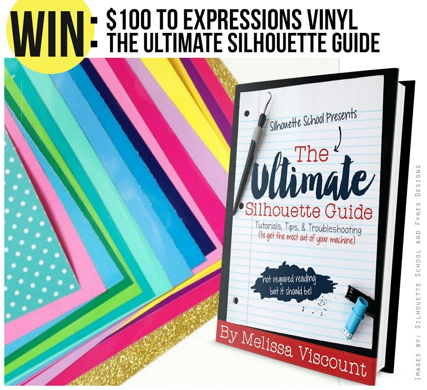 Enter to win $100 to spend at Expressions Vinyl and The Ultimate Silhouette Guide ebook at artsyfartsymama.com