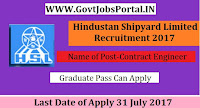 Hindustan Shipyard Limited Recruitment 2017– 52 Contract Engineer, Deputy Manager