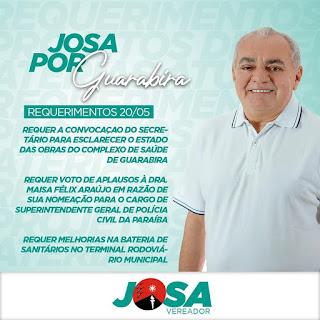 Josa  da padaria quer convocação do Secretário de Infraestrutura para  prestar esclarecimentos sobre as obras do Complexo Municipal de Saúde