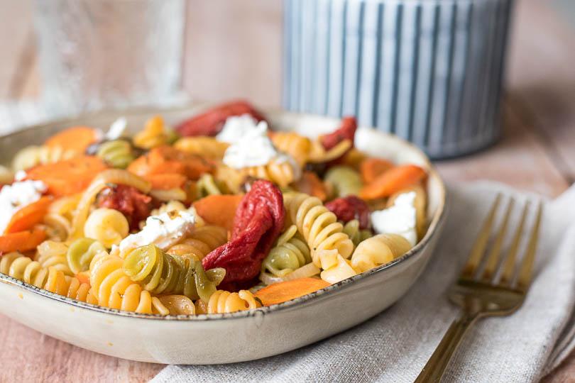 recette Pâtes tomates rôties et chèvre