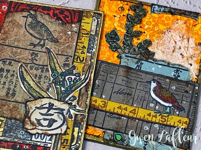 Collaged Bird ATCs with EGL19 - Gwen Lafleur