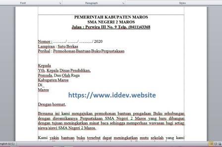 Contoh Format Surat Permohonan Bantuan Buku