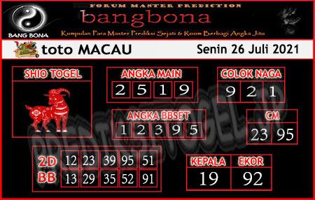 Prediksi Bangbona Toto Macau Senin 26 Juli 2021