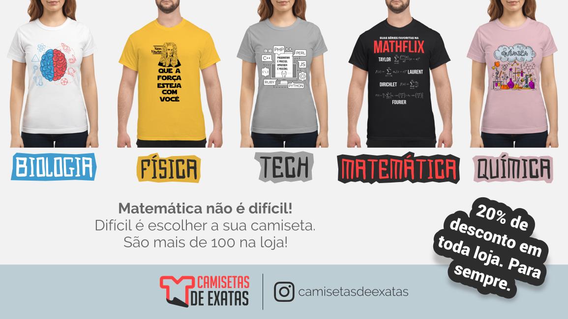 Lançada loja de camisetas matemáticas do blog
