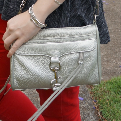 Rebecca Minkoff metallic silver mini MAC with red skinny jeans | awayfromtheblue