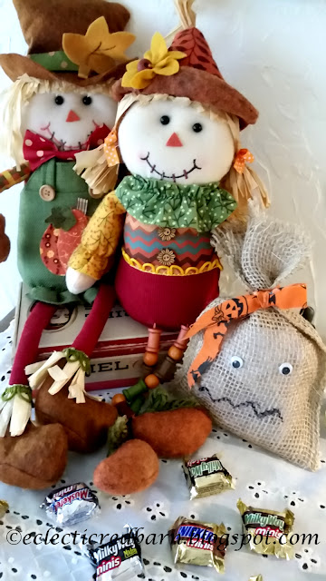 Eclectic Red Barn: Burlap Treat Bag  with Scarecrows