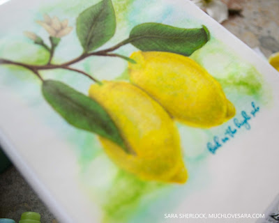 This cheerful lemon handmade card, was stamped with the new Picket Fence Studios Stamp Set called Pucker Up.  The image was colored with Copic Markers and Prismacolor Colored Pencils