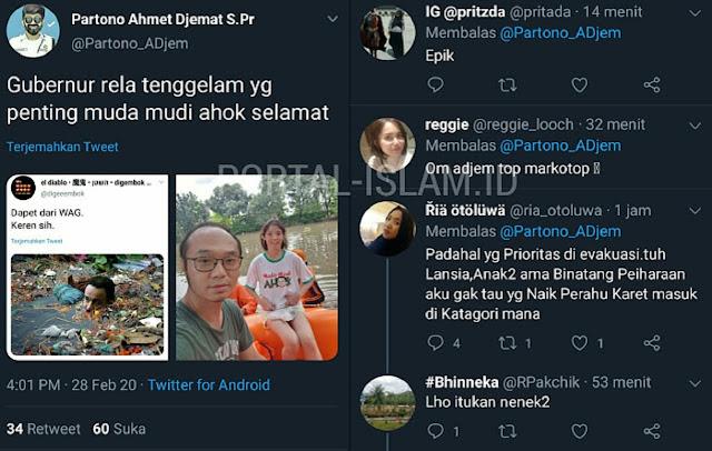 EPIC!! Balas Ejekan Haters Anies, Warganet: Gubernur Anies Rela Tenggelam, yang Penting Muda Mudi Ahok Selamat