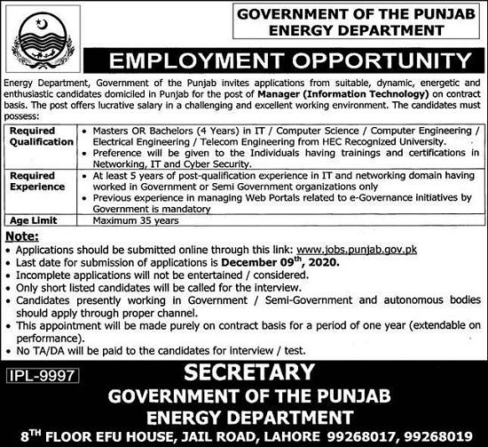 energy-department-jobs-2020-lahore