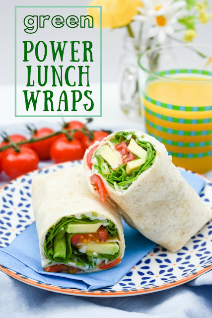 Green Power Lunch Wrap. A lush green lunchtime wrap featuring spinach and creamy avocado with a tangy dressing. Perfect for lunchboxes. Includes calories, nutrition and a free printable recipe. #wrap #lunchwrap #lunchbox #sandwich #veganwraps #vegansandwiches #veganlunchbox #wrapsrecipes #veganwrapideas #veganwrapfillings