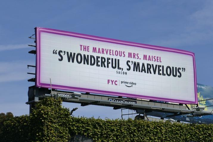 Mrs Maisel season 3 SWonderful SMarvelous FYC billboard