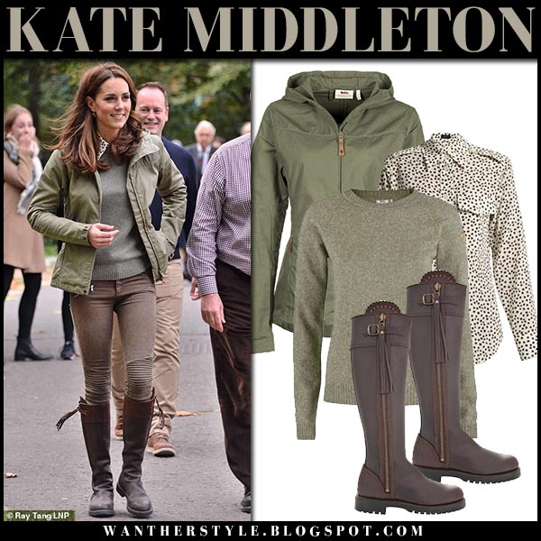 Kate Middleton in khaki green fjallraven jacket, green fjallraven sweater, brown jeans and brown boots penelope chilvers royal family casual style october 2