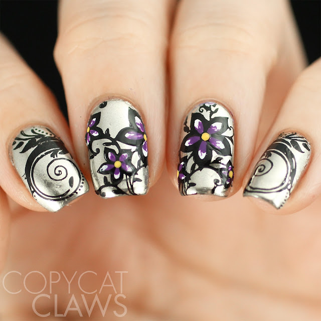 Floral Stamping On Chrome Nails