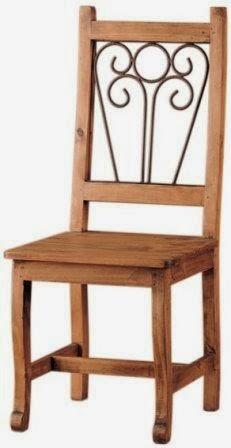 silla madera y forja rustica, silla rustica comedor