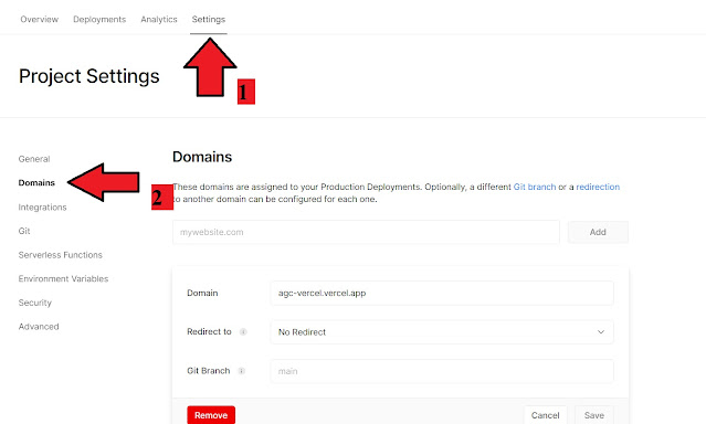 pilihan menu masuk ke pengaturan pointing domain di vercel