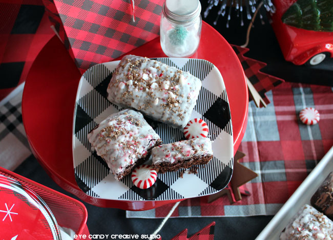 peppermint, mini loaves of holiday bread, homemade gift, buffalo plaid