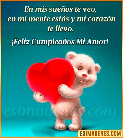 feliz cumpleaños de amor peluche con corazón