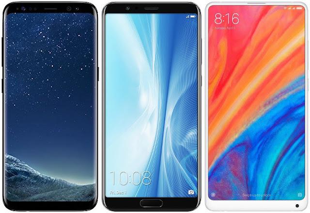 Samsung Galaxy S8 vs Honor View 10 vs Xiaomi Mi Mix 2s