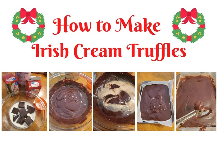 this is a collage on how to make irish cream truffles