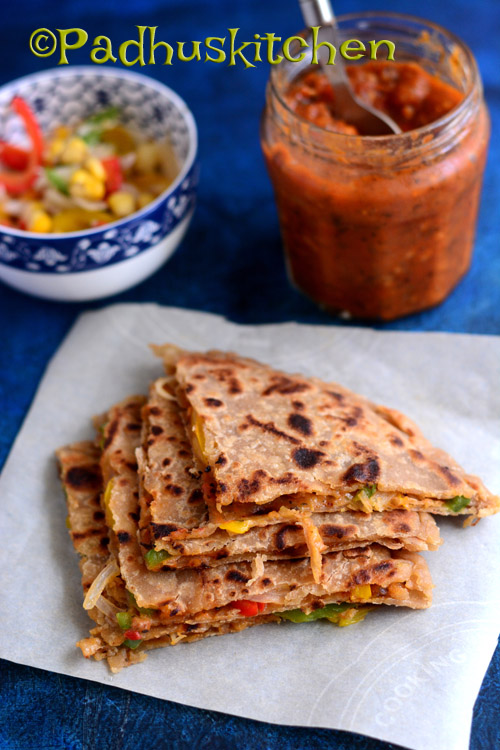 Pizza Paratha Recipe-Multigrain Pizza Paratha