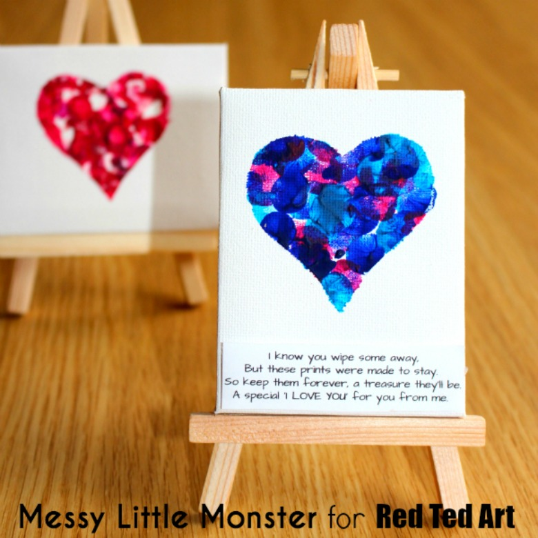 fingerprint heart canvas valentines day craft for toddlers