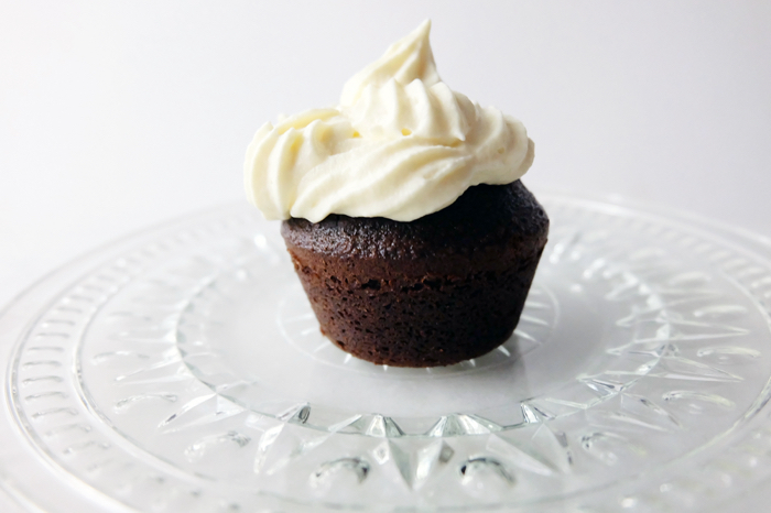 finished chocolate cupcake with Russian buttercream