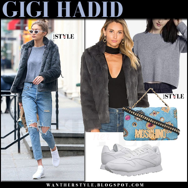 Gigi Hadid in grey faux fur jacket lovers friends mia, ripped jeans and white sneakers reebok what she wore model style