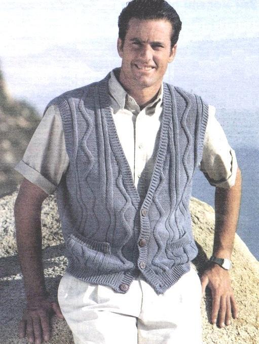 жилет мужской с узором зигзаг вязание спицами
