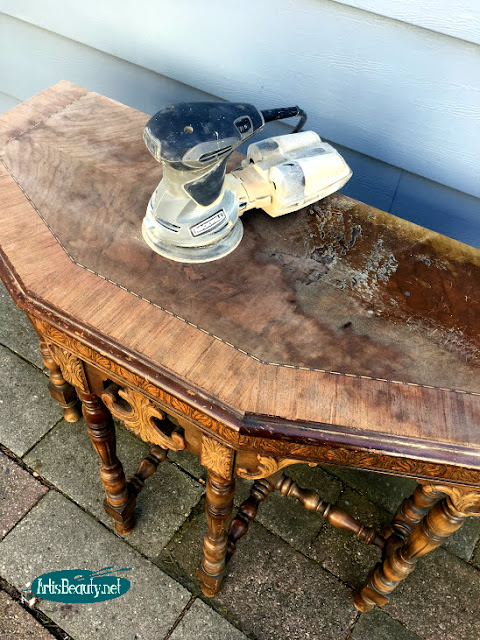 half occasional table with rockwell sander makeover random orbital removing old finish diy blogger