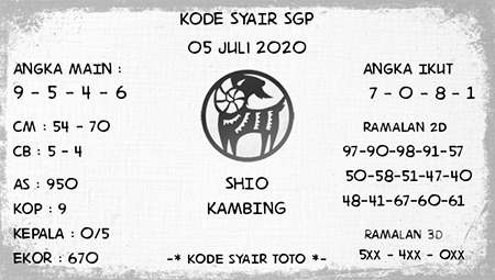 Kode Syair Singapura Minggu 05 Juli 2020