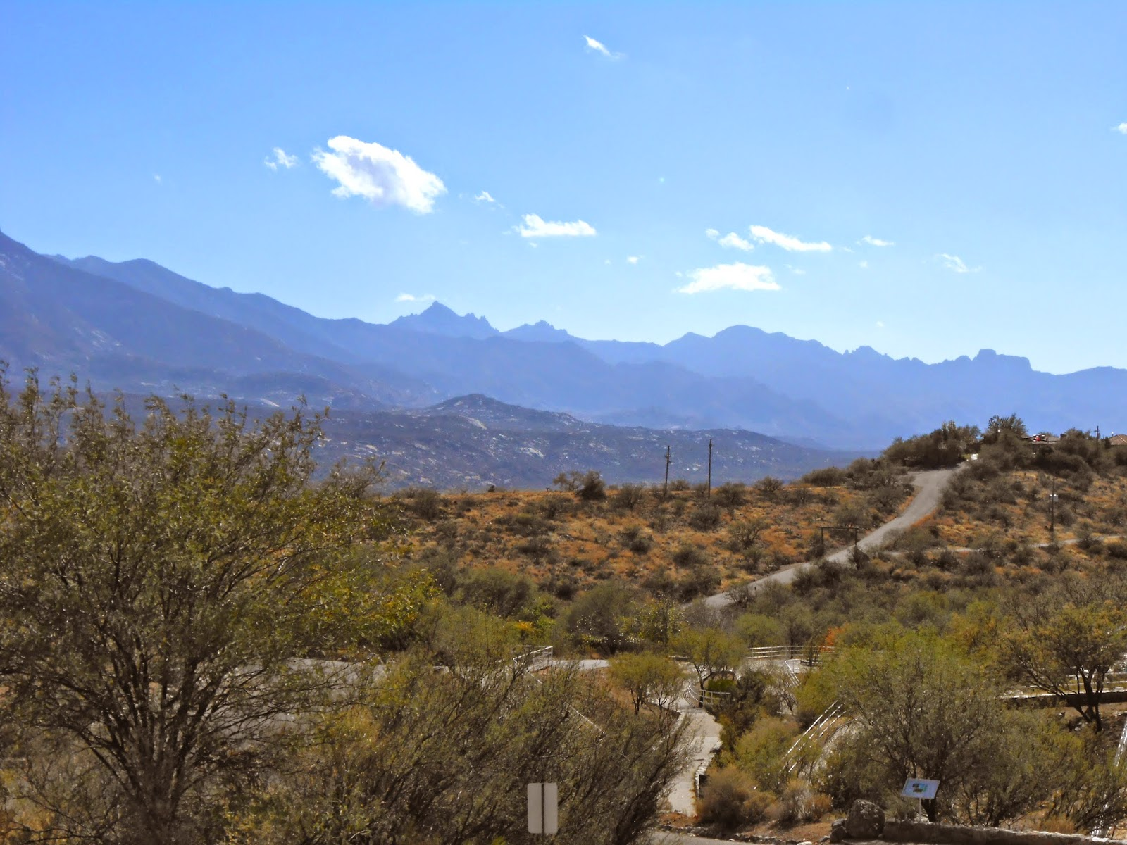 catalina mountain view from the biosphere attraction in oracle arizona
