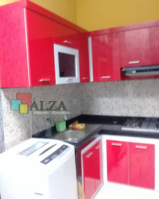 Kitchen set warna merah gloss
