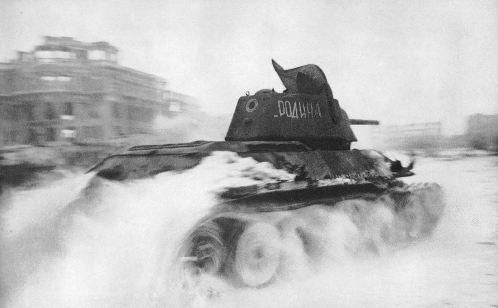 In January of 1943, a Soviet T-34 tank roars through the Square of Fallen Fighters in Stalingrad.
