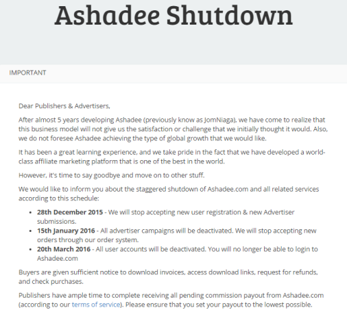 Ashadee.com Ditutup