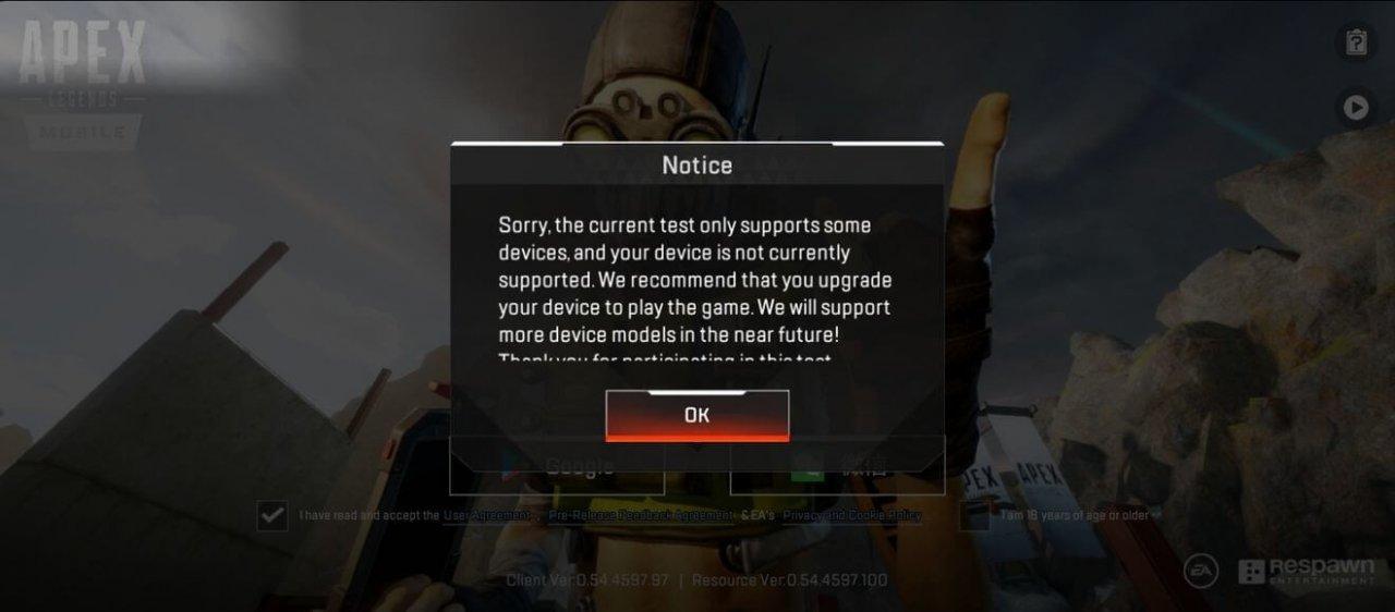 Mobile device support error