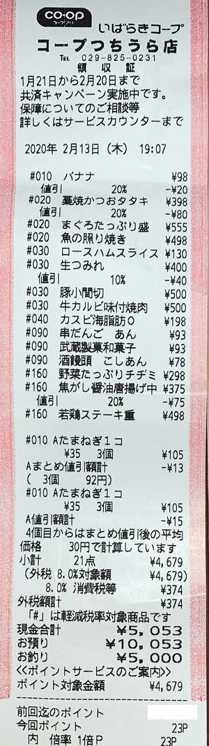 いばらきコープ コープつちうら店 2020/2/13 のレシート