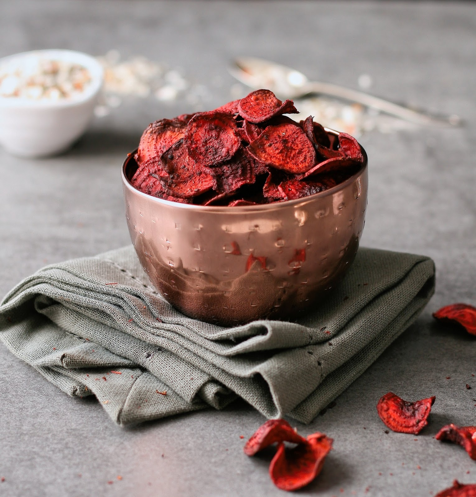 Beetroot crisps in a bowl.
