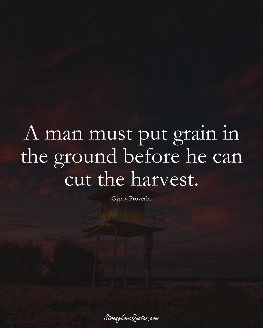 A man must put grain in the ground before he can cut the harvest. (Gypsy Sayings);  #aVarietyofCulturesSayings