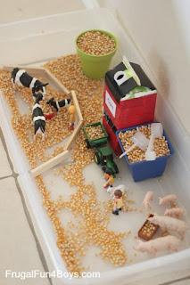 cow sensory bin, farm sensory bin, grain sensory bin, oats sensory bin, corn sensory bin, barnyard sensory bin