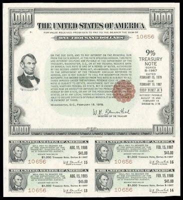 Picture of 9% US Treasury Note indicating the nominal value and rate of interest