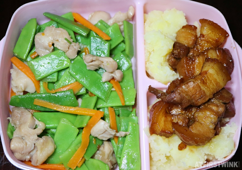 Bento box ideas soy sauce braised pork belly mashed potatoes flat beans chicken breast carrot strips
