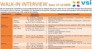 ITI / Diploma / Graduate  Job Vacancy Walk in Interview in V S international Pvt. Ltd on 27th December 2020